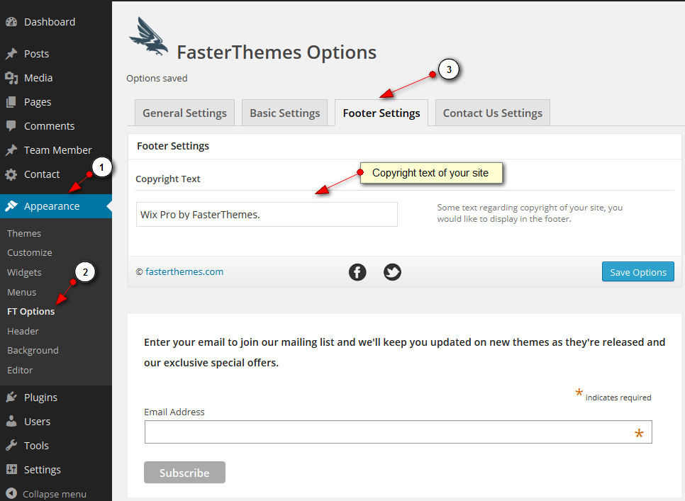 footer settings wix pro