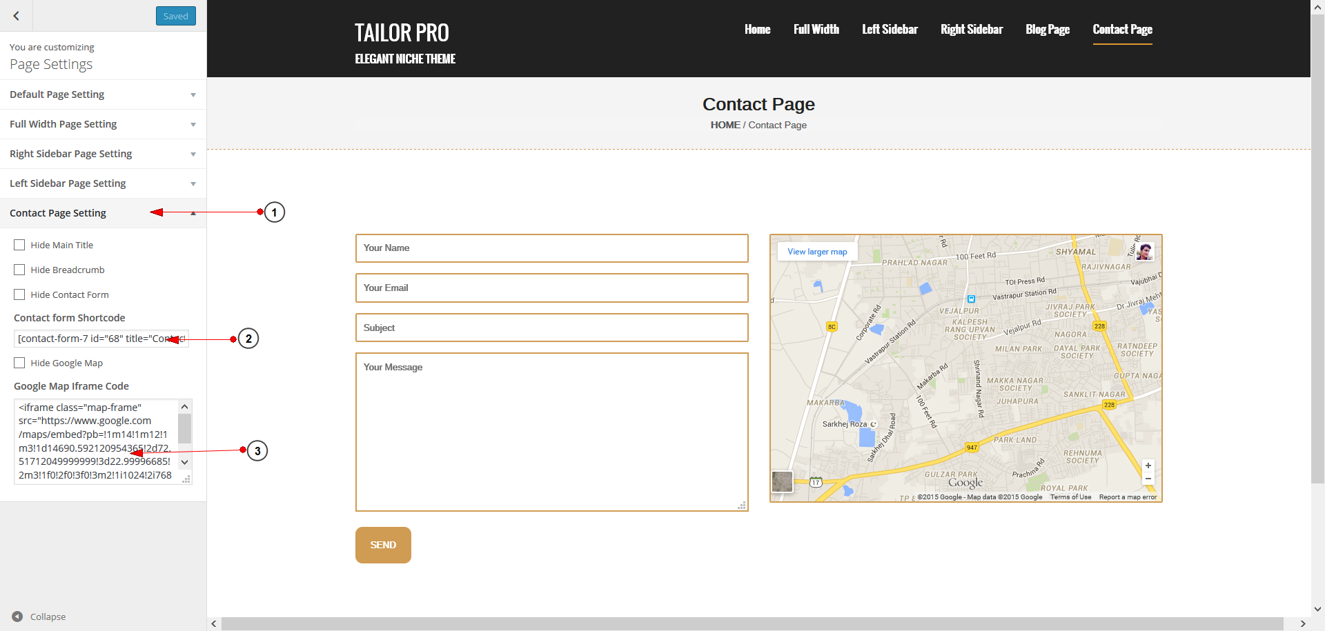 contact page setting